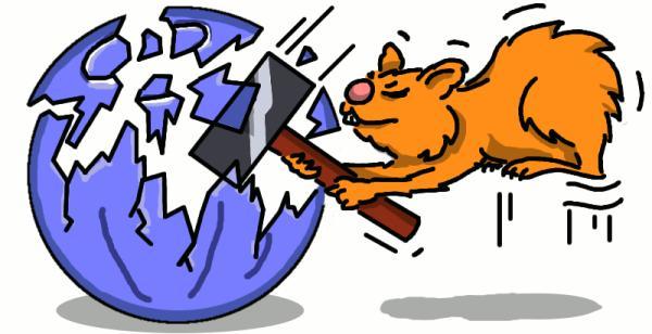 Hamster zerchlägt Kugel mit Hammer