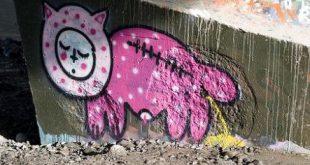 Katze markiert auf Boden - Comic